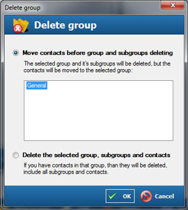 Delete contact group